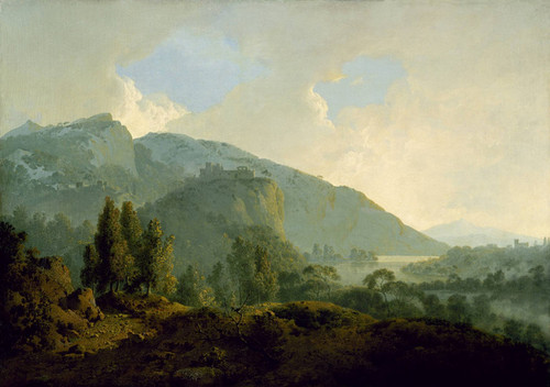 Art Prints of Italian Landscape with Mountains and a River by Joseph Wright of Derby