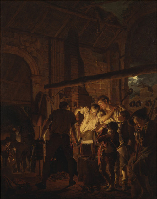 Art Prints of The Blacksmith's Shop by Joseph Wright of Derby