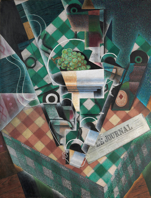 Art Prints of Still Life with Checkered Tablecloth by Juan Gris