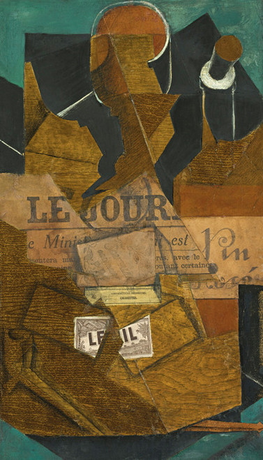 Art Prints of Tobacco, Newspaper, and a Bottle of Rose Wine by Juan Gris