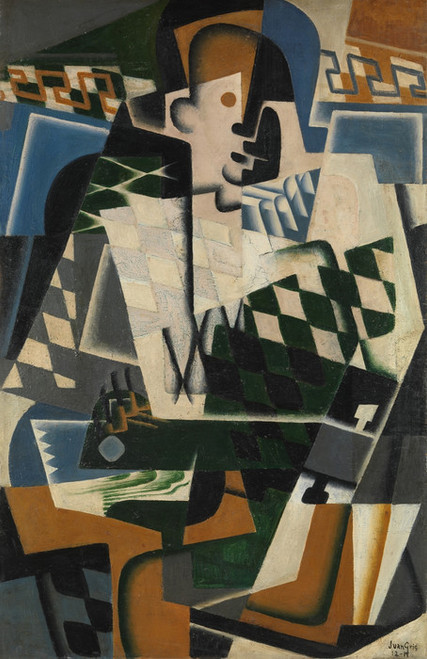 Art Prints of Harlequin with a Guitar by Juan Gris