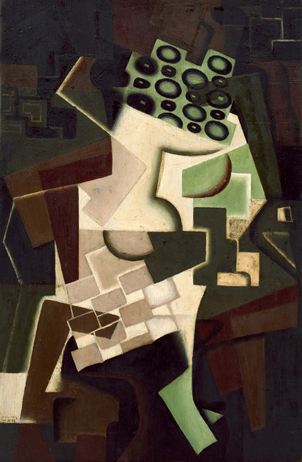 Art Prints of Fruit Dish on a Checkered Tablecloth by Juan Gris