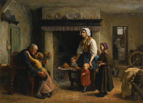 Art Prints of Grandfather's Birthday by Jules Breton