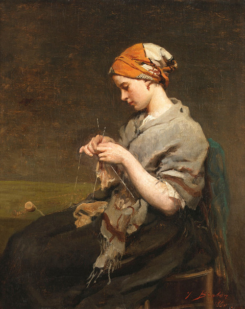 Art Prints of Girl Knitting by Jules Breton