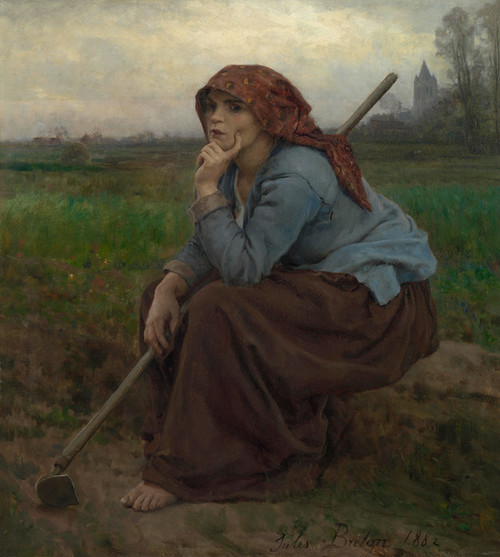 Art Prints of Young Peasant Girl with a Hoe by Jules Breton