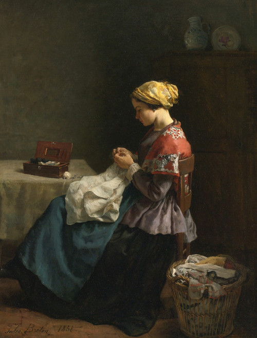 Art Prints of Woman Sewing by Jules Breton