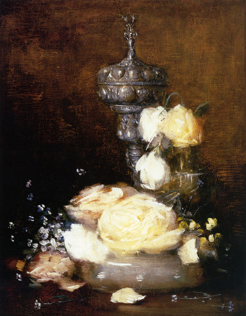 Art Prints of Silver Chalice with Roses by Julian Alden Weir