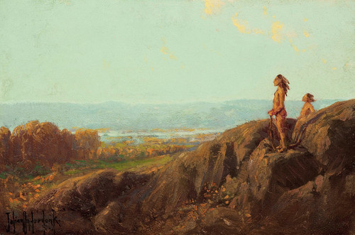 Art Prints of Landscape with Indian Scouts by Julian Onderdonk