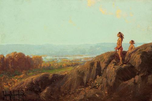 Art Prints of Landscape with Indian Scouts by Julian Onderdonk