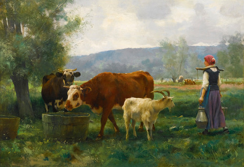 Art Prints of Dairy Herd with It's Young by Julien Dupre