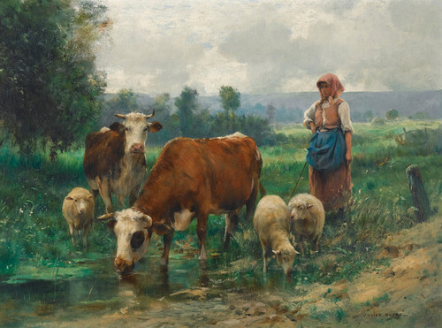 Art Prints of The Shepherdess and Her flock by Julien Dupre