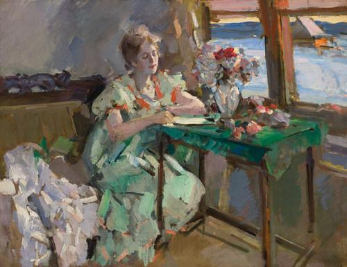 Art Prints of By the Window by Konstantin Alexeevich Korovin
