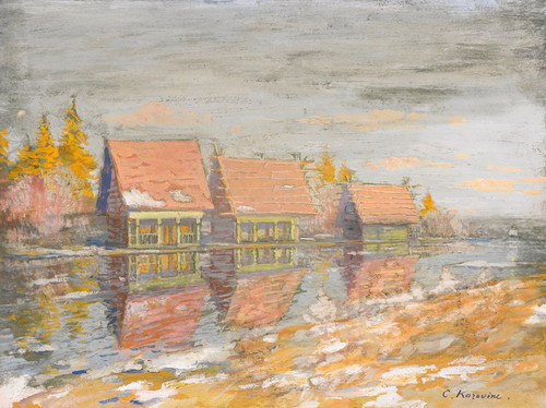 Art Prints of Cottages on the Riverbank by Konstantin Alexeevich Korovin