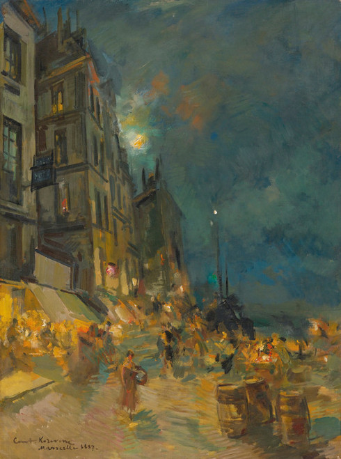 Art Prints of Marseilles Quay by Night by Konstantin Alexeevich Korovin