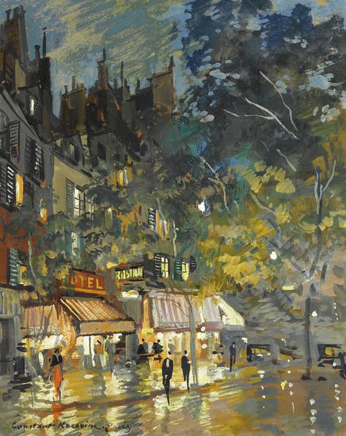 Art Prints of Paris Cafe at Night by Konstantin Alexeevich Korovin
