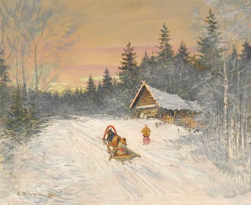 Art Prints of Russian Village Under Snow by Konstantin Alexeevich Korovin