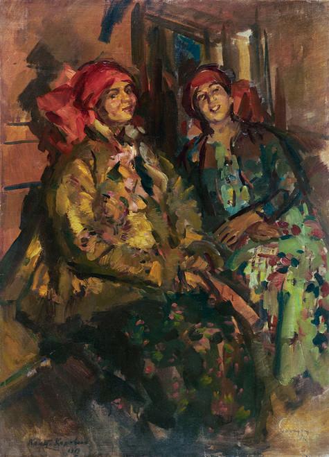 Art Prints of Two Girls in Peasant Costumes by Konstantin Alexeevich Korovin