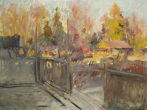 Art Prints of Spring in a Village by Konstantin Alexeevich Korovin