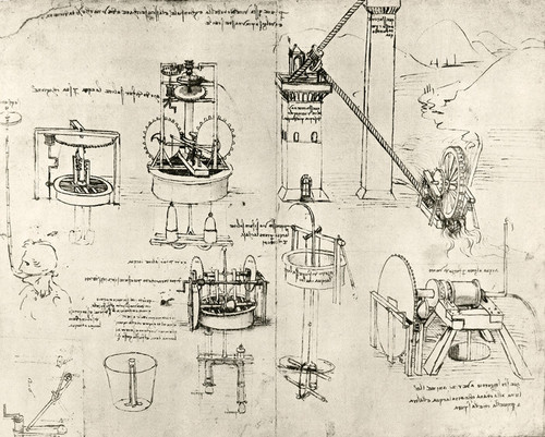 Art Prints of Well and Reservoir Pumps Operated by Water Wheels by Leonardo da Vinci