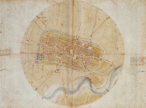 Art Prints of Plan of Imola by Leonardo da Vinci
