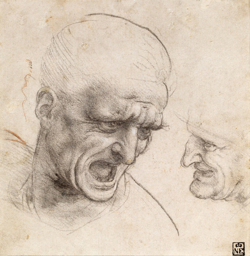Art Prints of Two Warrior's Heads for the Battle of Anghiari by Leonardo da Vinci