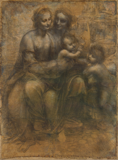 Art Prints of Virgin and Child with Anne and John the Baptist by Leonardo da Vinci