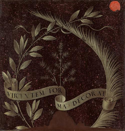 Art Prints of Wreath of Laurel Palm and Juniper with a Scroll by Leonardo da Vinci