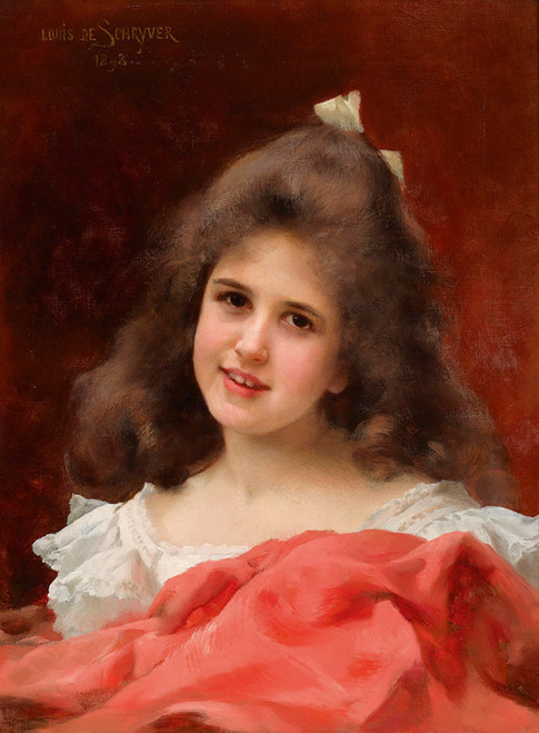 Art Prints of Portrait of a Girl with a White Bow by Louis Marie de Schryver