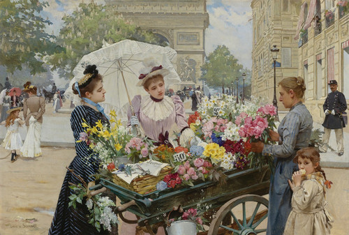 Art Prints of The Flower Seller on the Champs Elysees by Louis Marie de Schryver