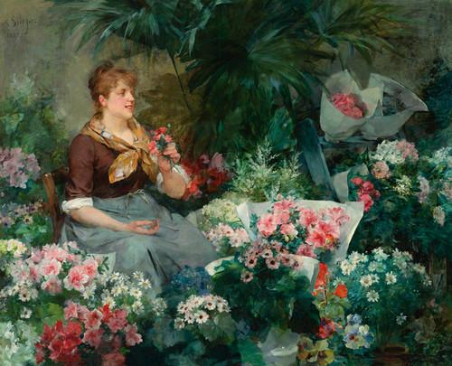 Art Prints of The Flower Seller by Louis Marie de Schryver