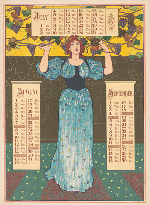 Art Prints of Poster Calendar, 1897, July, August, September (43208L) by Louis Rhead