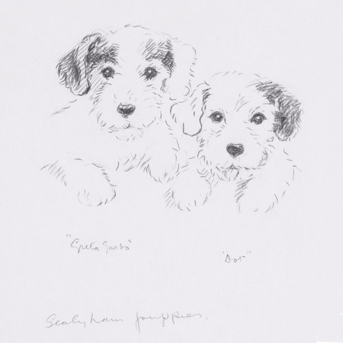 Art Prints of Greta Garbo and Dot, Sealyham Puppies by Lucy Dawson