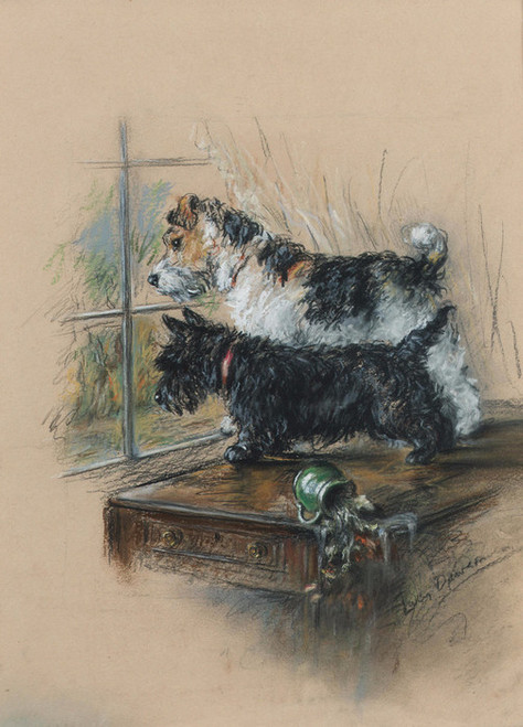 Art Prints of The Look Out, Wire Fox Terrier and Scottie by a Window by Lucy Dawson