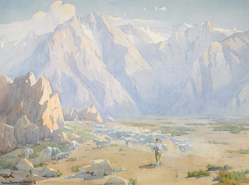 Art Prints of Navajo Shepherd with Flock, High Sierra by Marion Kavanaugh Wachtel