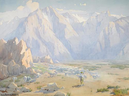 Art Prints of Navajo Shepherd with Flock, High Sierra by Marion Kavanaugh Wachtel