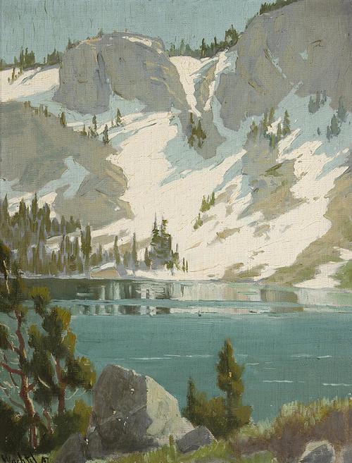 Art Prints of Snowy Slope by Water's Edge by Marion Kavanaugh Wachtel
