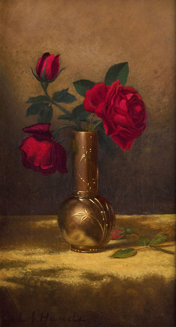 Art Prints of Red Roses in a Japanese Vase on a Gold Cloth by Martin Johnson Heade