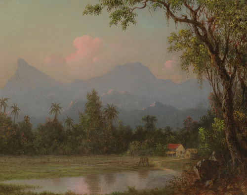 Art Prints of South American Scene with a Cabin by Martin Johnson Heade
