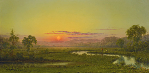 Art Prints of Two Fishermen in the Marsh at Sunset by Martin Johnson Heade