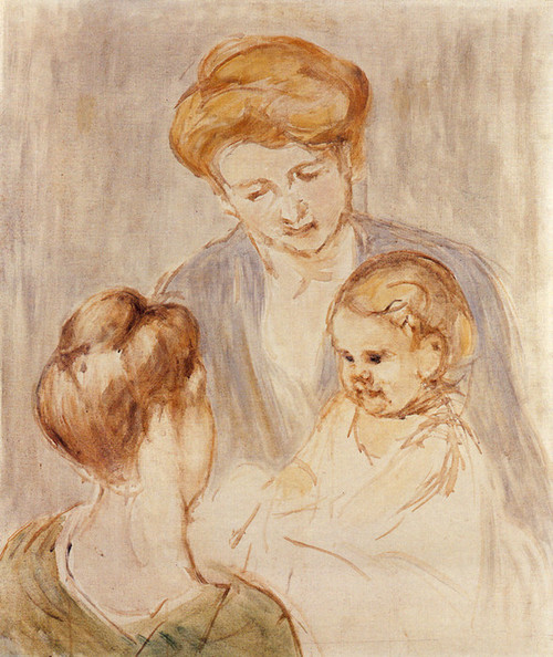 Art Prints of Two Smiling Baby Girls by Mary Cassatt