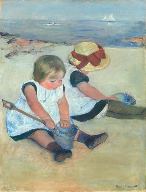 Art Prints of Children Playing on the Beach by Mary Cassatt