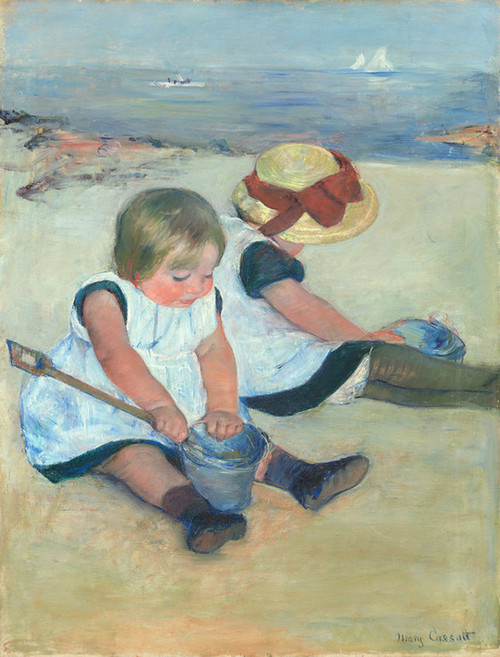 Art Prints of Children Playing on the Beach by Mary Cassatt