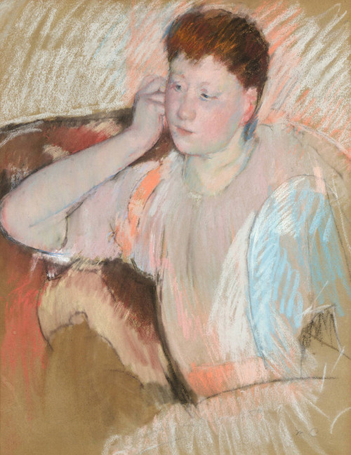 Art Prints of Clarissa with Her Hand to her Ear by Mary Cassatt