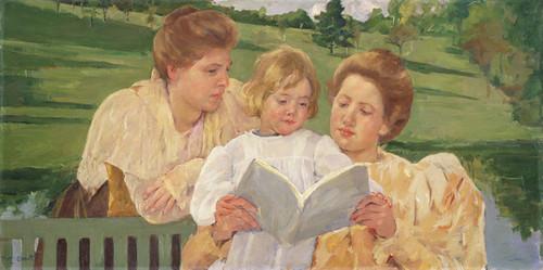 Art Prints of Family Group Reading by Mary Cassatt