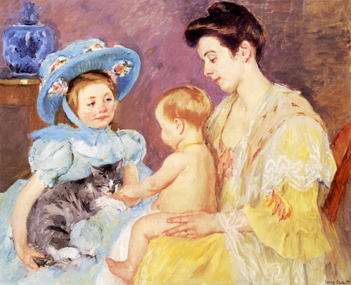 Art Prints of Children Playing with a Cat by Mary Cassatt
