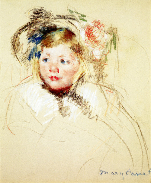 Art Prints of Head of Sara in a Bonnet Looking Left by Mary Cassatt