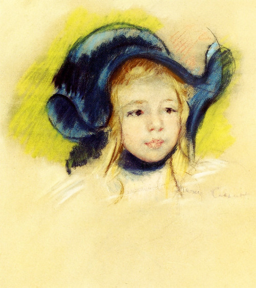Art Prints of Head of Simone in a Green Bonnet with Wavy Brim by Mary Cassatt