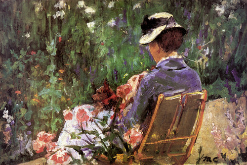 Art Prints of Lydia Seated in the Garden with a Dog on Her Lap by Mary Cassatt