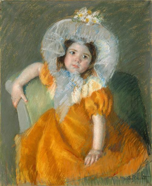 Art Prints of Margot in Orange Dress by Mary Cassatt