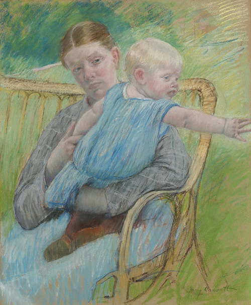 Art Prints of Mathilde Holding a Baby Who Reaches Out to Right by Mary Cassatt